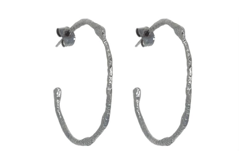 Wabi Sabi hoops in rhodium plated silver