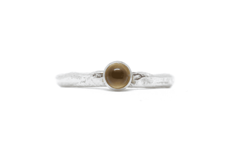 Wabi Sabi silver ring with a gemstone