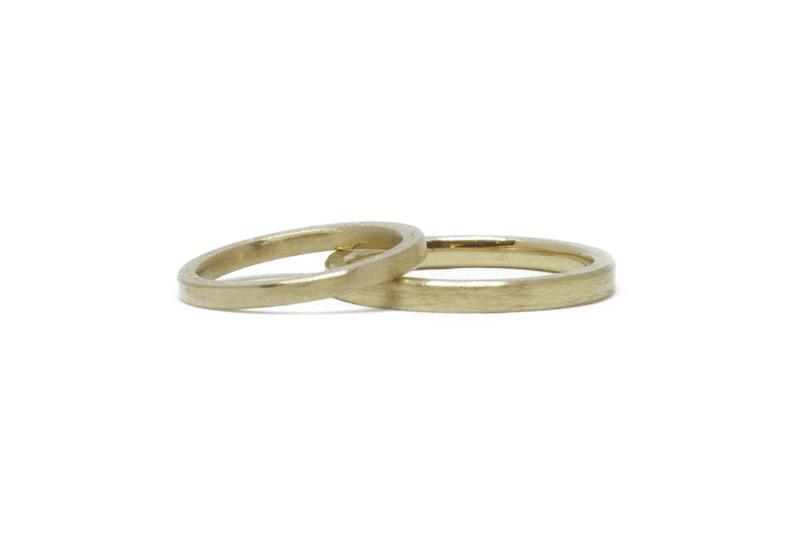 Wabi Sabi wedding rings in gold