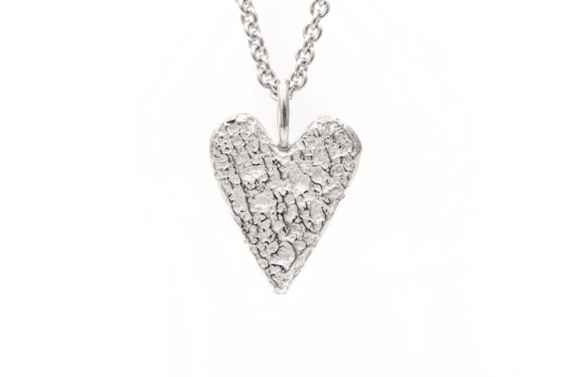 Smykke, sølv hjerte stort